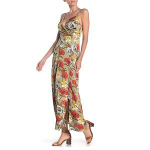MELLODAY Floral Sleeveless Satin Maxi Dress